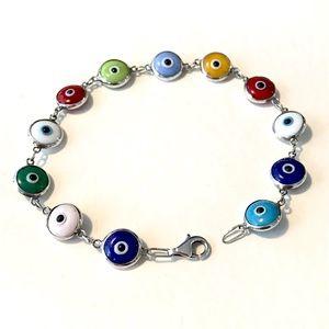Evil Eye Glass and Sterling Silver Bracelet